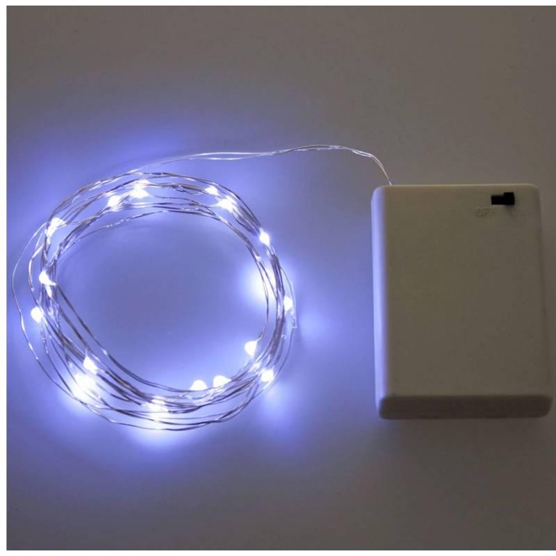 Guirlande lumineuse piles AA 4M 40 Micro LED blanc froid