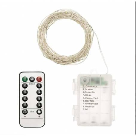 Guirlande piles 10M 100 micro led bland froid dimmable animée télécommande extérieur