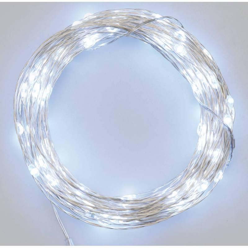 Guirlande LED piles 10 mètres blanc froid anniversaire noël