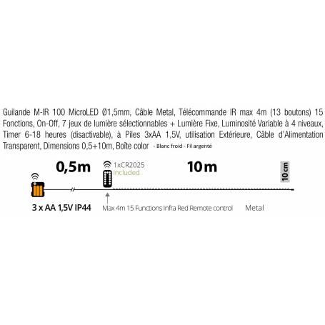 Guirlande piles 10M extérieur professionnel dimensions