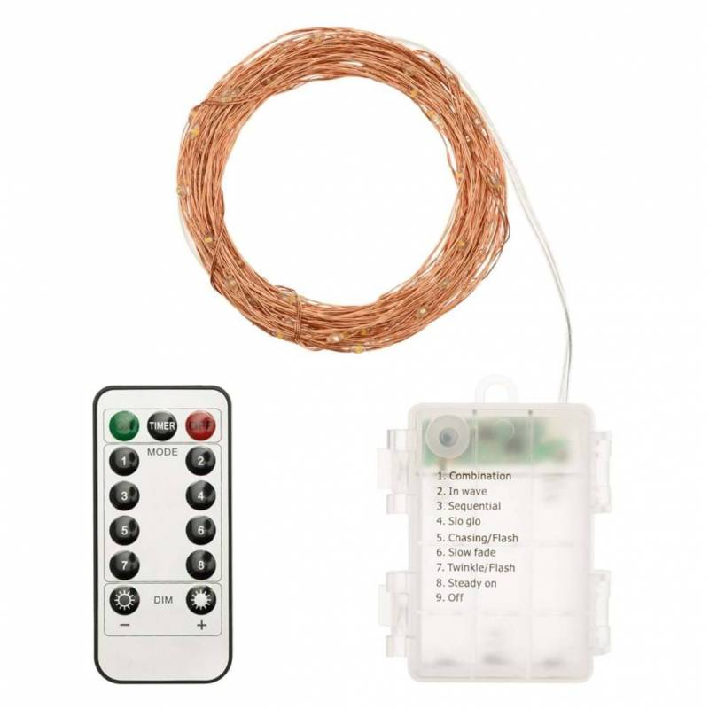 Guirlande piles 20M 200 micro led bland chaud dimmable animée télécommande extérieur