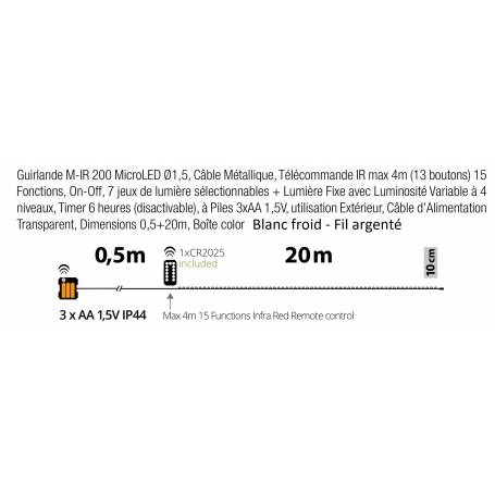 Guirlande piles 20M micro led extérieur professionnel dimensions techniques