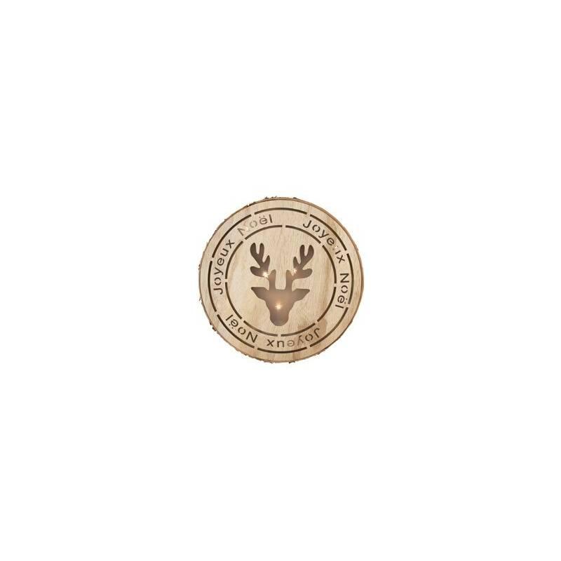 Rond lumineux led sapin noel bois motif renne 29,5 cm