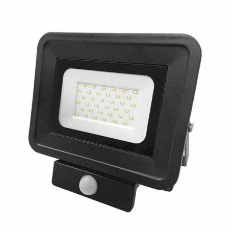 Projecteur led plat noir détecteur de mouvement 30w blanc chaud
