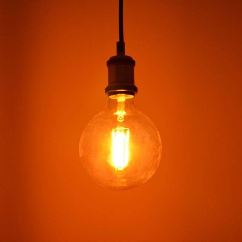 Ampoule led vintage filament G125 E27 4w ambrée