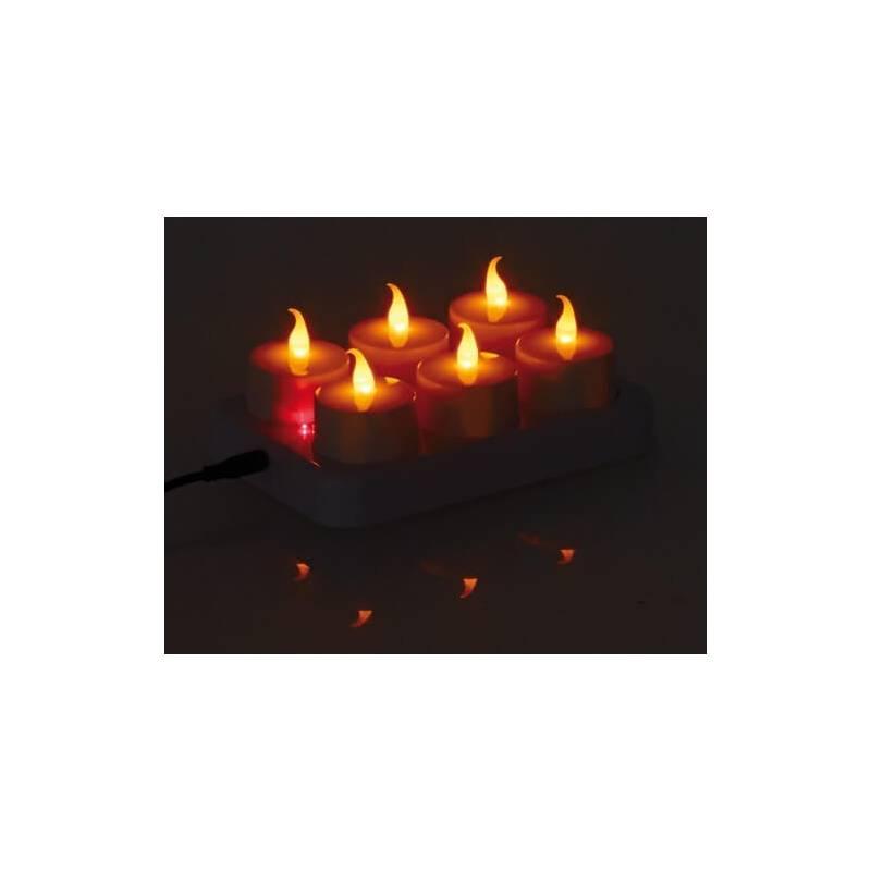 lot de 6 bougies leds rechargeables plates