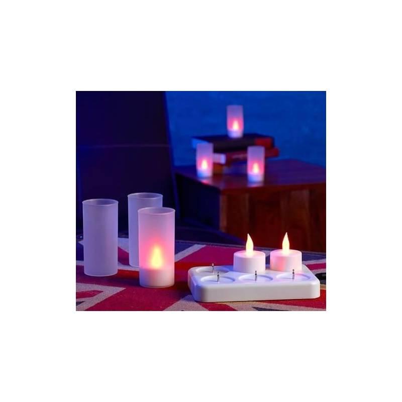 set 6 bougie chauffe plat rechargeable avec télécommande