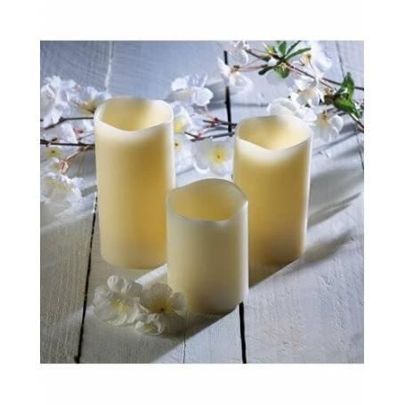 Pack de trois bougies en cire led télécommandée