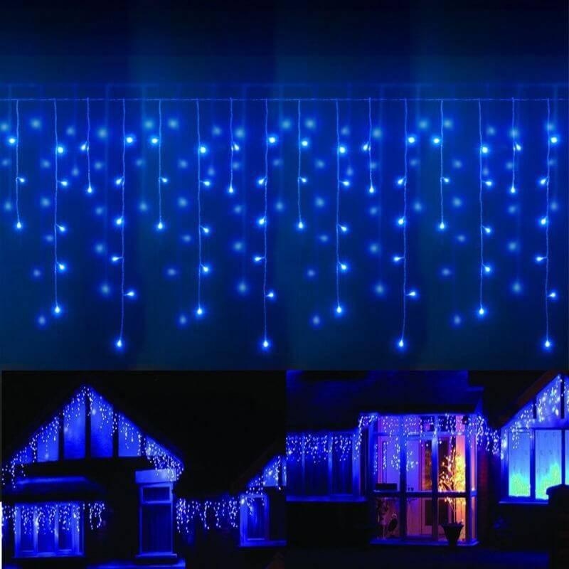 Guirlande led frise stalactite 8 m tres bleu ext rieur for Rideau noel exterieur