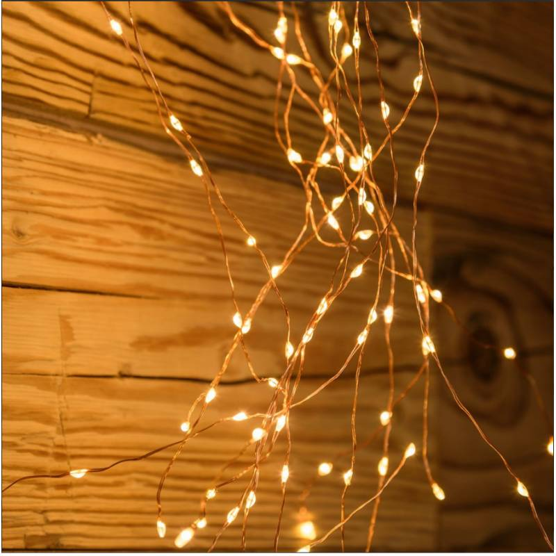 Cascade lumineuse LED 3.2M 15 branches 900 Micro LED blanc chaud vintage professionnel
