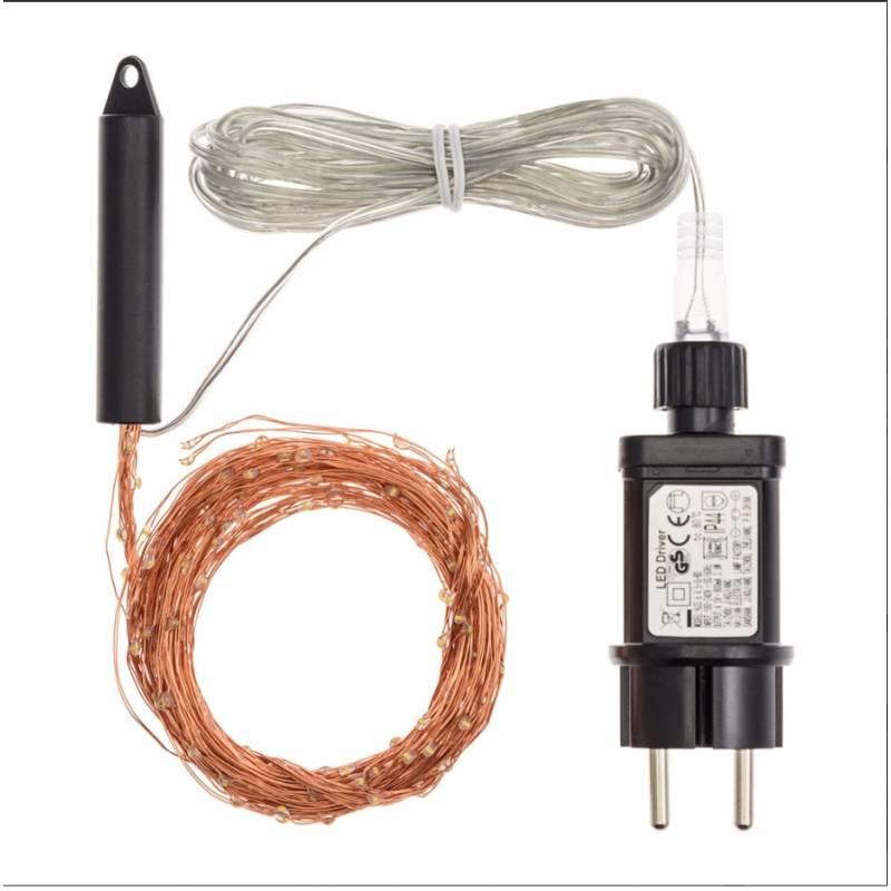 Cascade LED 2M 200 Micro LED blanc chaud cable cuivre professionnel