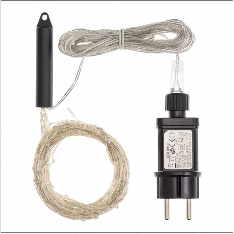 Cascade LED 2M 200 Micro LED blanc froid cable argenté professionnel