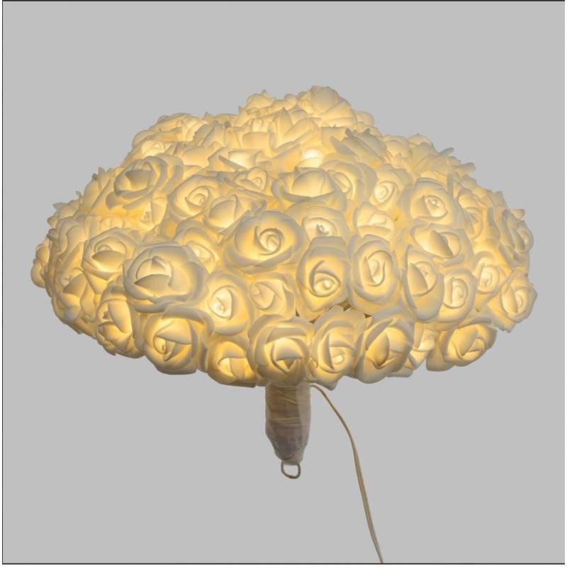 Bouquet 120 Roses blanches lumineuses LED H23 CM diamètre 30CM professionnel