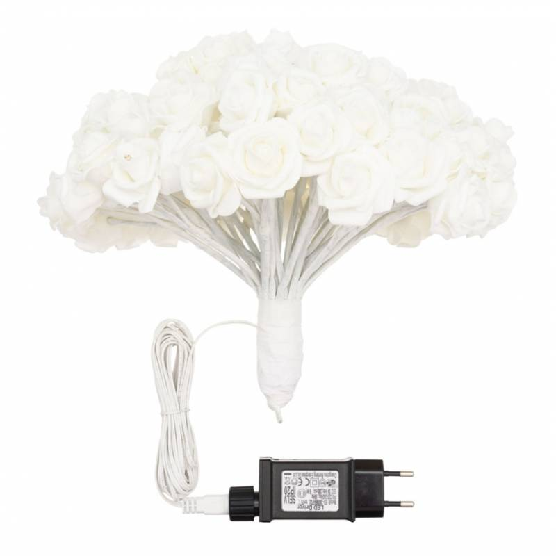 Bouquet 120 Roses blanches lumineuses 30CM professionnel