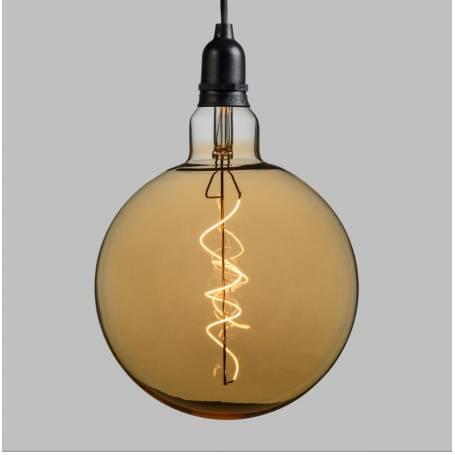 Suspension ampoule sphère 20CM vintage spirale verre E27 piles professionnel