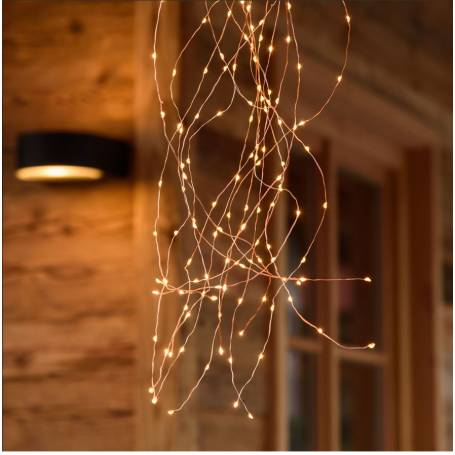 Cascade lumineuse LED 1M 15 branches 300 Micro LED blanc chaud vintage professionnel