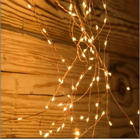 Cascade lumineuse LED 2M 15 branches 600 Micro LED blanc chaud vintage professionnel