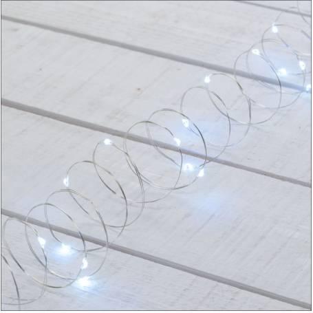 Guirlande piles extérieur 3M 30 micro led blanc froid 2 modes fixe et flash étanches professionnel