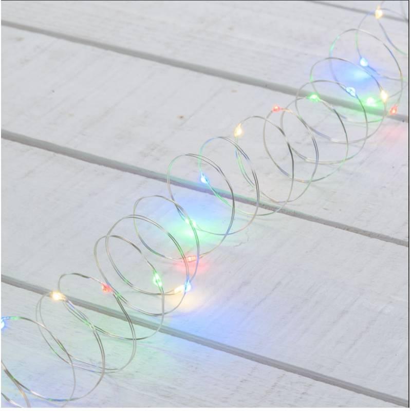 Guirlande piles extérieur 3M 30 micro led multicolore 2 modes fixe et flash étanches professionnel