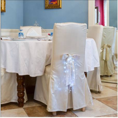 Mini cascade lumineuse piles blanc froid décoration chaise mariage