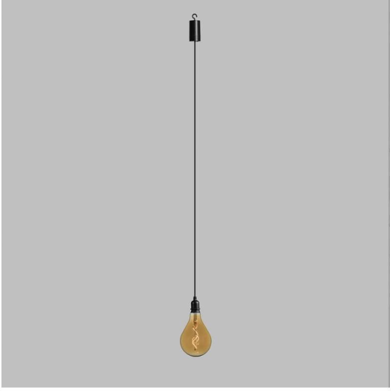 Suspension ampoule poire 12CM vintage spirale verre E27 piles professionnel