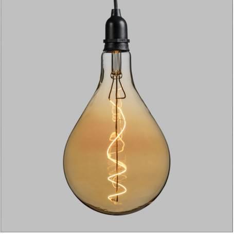 Suspension ampoule poire 16CM vintage spirale verre E27 piles professionnel