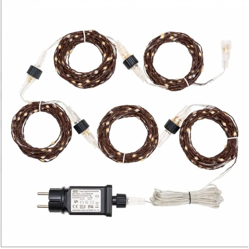 Guirlande 50M 500 Micro blanc chaud cable métal marron modulable professionnel