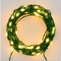 Guirlande 50M 500 Micro blanc chaud cable métal vert modulable