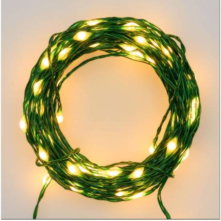 Guirlande 50M 500 Micro blanc chaud cable métal vert modulable professionnel