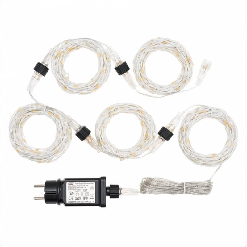 Guirlande 50M 500 Micro blanc chaud cable métal argent modulable professionnel