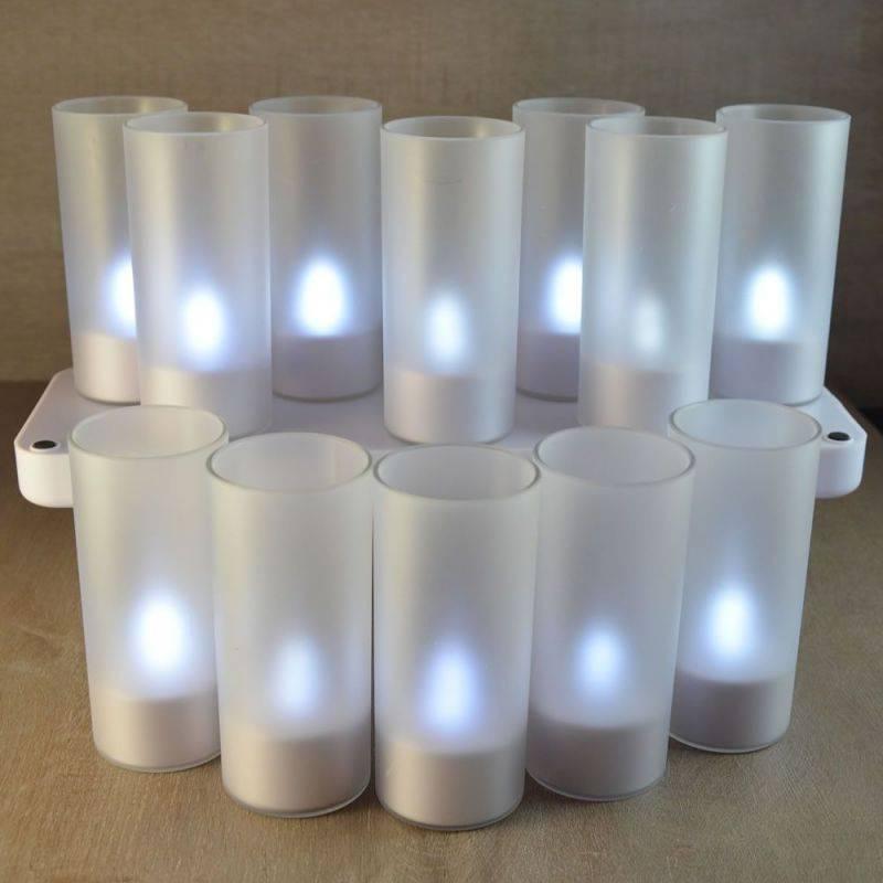 Set de 12 bougies rechargeable avec photophore blanc froid professionnel