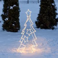 sapin de noël lumineux 3D avec étoiles 768 led blanc chaud professionnel