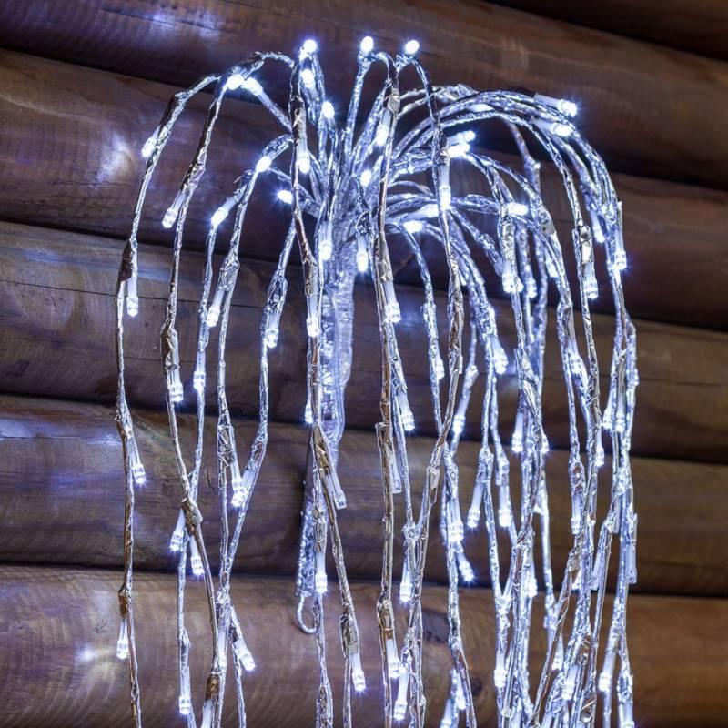 Branche lumineuse tombante 2M 736 led blanc froid flash argentée professionnel