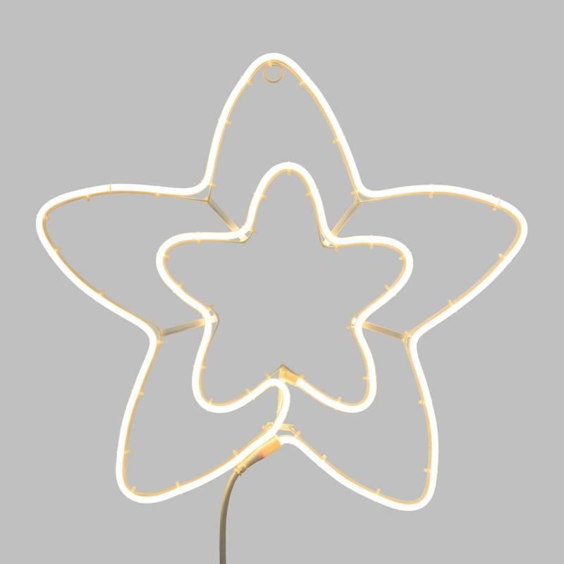 Etoile lumineuse double 55CM 360 LED blanc chaud néon professionnel