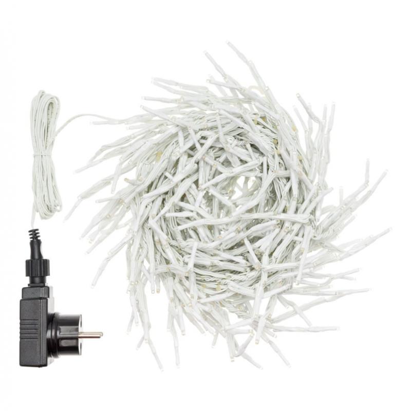 Guirlande mini stalactite 10M H 12CM 550 LED blanc froid cable blanc
