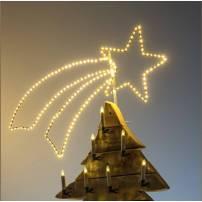 Etoile filante lumineuse 115CM 300 LED blanc chaud structure métal professionnel