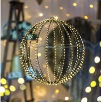 Sphère lumineuse 30CM 500 LED blanc chaud fil cuivre structure métal marron professionnel