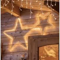 Deux étoiles lumineuses 170 Micro LED blanc chaud fil cuivre structure métal marron professionnel