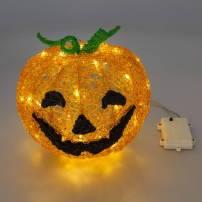 Citrouille lumineuse LED à piles 22 CM 48 LED blan cchaud professionnel
