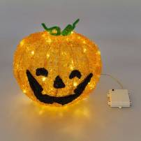 Citrouille lumineuse Halloween 32Cm 80 LED blanc chaud acrylique professionnel