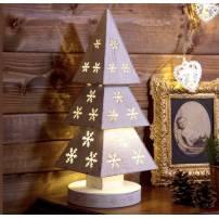 Sapin lumineux bois blanc vintage 34CM 10 LED blanc chaud à piles professionnel