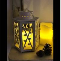 Lanterne lumineuse bois blanc vintage 1 bougie LED à piles professionnel