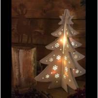 Sapin lumineux Noel bois blanc en croix 28 CM 12 LED blanc chaud professionnel