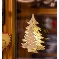 Mini sapin lumineux à piles bois blanc vintage 11CM LED blanc chaud professionnel