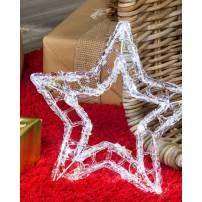 Mini Etoile lumineuse à piles transparente acrylique 20 LED blanc froid professionnel