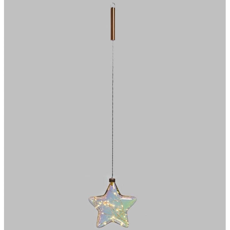 Etoile lumineuse suspendue à piles en verre 15 LED blanc chaud télécommande professionnel