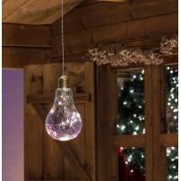 Suspension ampoule Goutte transparente 15 LED blanc chaud à piles télécommande