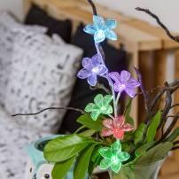 Branche lumineuse à fleur multicolore avec piles 50 CM professionnel