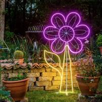 Lampe néon déco fleur XL 185x110 cm 960 leds smd blanc chaud / rose professionnel