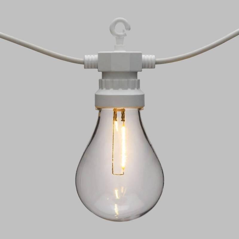 Guirlande guinguette cable blanc 5.5M 10 ampoules transparentes blanc chaud professionnel